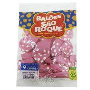 Balão Poá Rosa Tutti Frutti Bolinha Branco N9 25 unid São Roque