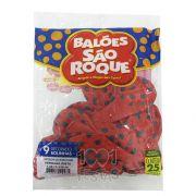 Balão Poá Vermelho Bolinhas Pretas  N09 25 unid São Roque