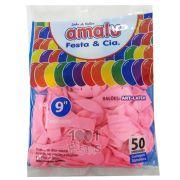 Balão Rosa Claro  N09 50 unid Amalu