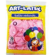 Balão Rosa Claro N09 50 unid Art Latex