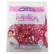 Balão Rosa Maravilha Bolinha Branca N11 25 unid Art Latex