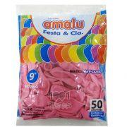 Balão Rosa  N09 50 unid Amalu