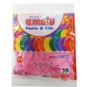 Balão Rosa N6,5 50 unid Amalu