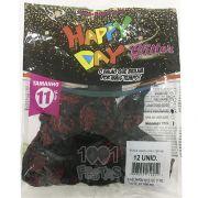 Balão Roses Preto C/Glitter Vermelho N11 12 unid Happy Day