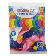 Balão Sortido N09  50 unid. Amalu