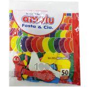 Balão Sortido N6,5 50 unid. Amalu