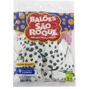Balão Poá Branco Bolinhas Pretas N09 25 unid São Roque