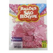 Balão  Chá de Bebê Rosa Tutti Frutti e Branco N09 25 unid São Roque