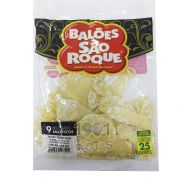 Balão Transparente Arabesco Branco N09 25 unid São Roque