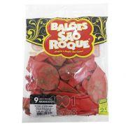 Balão Vermelho Arabesco Dourado N09 25 unid São Roque