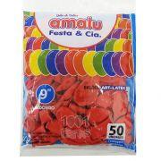 Balão Vermelho N09 50 unid Amalu
