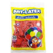 Balão Vermelho N09 50 unid Art Latex