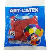 Balão Vermelho Rubi N08 50 unid. Art Latex