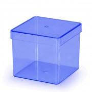 Caixa Acrílica 8cm x 8cm C 01 unid Azul Translúcido