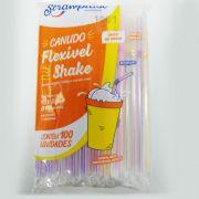Canudo Flexível Shake Sortido 100 unid Sachê Strawplast