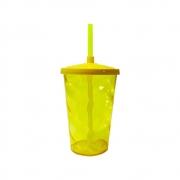 Copo Twister Canudo 600ml Amarelo Neon