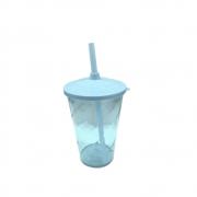 Copo Twister Canudo 600ml Azul Bebê