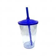 Copo Twister Canudo 600ml Azul Translúcido