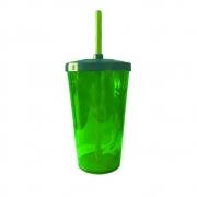 Copo Twister Canudo 600ml Verde Neon