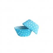 Forminha para Cupcake Azul Claro Poá Branco c/45 unid Flip