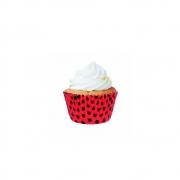 Forminha  Para Mini Cupcake  Vermelho Poá Preto c/45 unid Flip