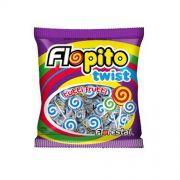 Pirulito Flopito Tutti-Frutti Twist Branco e Azul 450g Florestal
