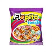 Pirulito Flopito Tutti-Frutti Twist Vermelho e Amarelo 450g Florestal