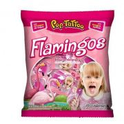 Pirulito Pop Tatoo Flamingos Iogurte Morango 400g Boavistense
