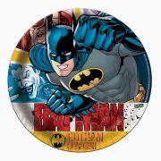 Prato de Papel Batman 18cm  C 08 unid Redondo Festcolor