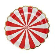 Prato de Papel Circo Vermelho 18cm 10 unid Silver Plastic