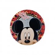 Prato de Papel Mickey c/12 unid  Redondo Regina