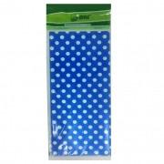 Toalha Plástica Azul Escuro Poá Branco 70cm x 70cm C 10 unid Dani