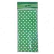 Toalha Plástica Verde Poá Branco 70cm x 70cm C 10 unid Dani