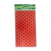 Toalha Plástica Vermelha Poá Preto 70cm x 70cm C 10 unid Dani