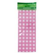 Toalha Plástica Xadrez Rosa Claro 70cm x 70cm C 10 unid Dani