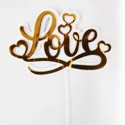 Topo de Bolo 3D Love Dourado Piffer
