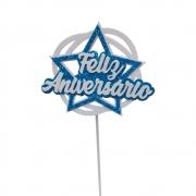 Topo de Bolo Feliz Aniversário Estrela Azul Piffer