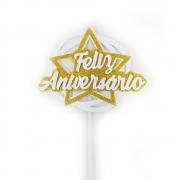 Topo de Bolo Feliz Aniversário Estrela Dourado Piffer