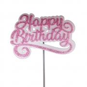 Topo de Bolo Happy Birthday Rosa Piffer