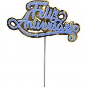 Topo de Bolo Impresso Feliz Aniversário Azul Piffer