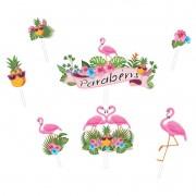 Topo de Bolo Impresso Flamingo Piffer