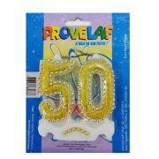Vela 50 Anos Glitter Dourado Provelaf