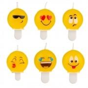Vela Emoji c/ 6 unid Silver Festas