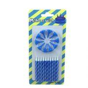 Vela Espiral Branco e Azul 10 unid Popper