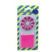 Vela Espiral Branco e Pink 10 unid Popper