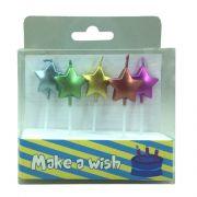 Vela Estrela Metalizada Colorida 5 unid  Popper