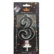 Vela Grande Glitter 3 Black Silver Festas