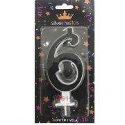 Vela Grande Glitter 6 Black Silver Festas