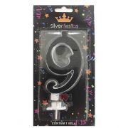 Vela Grande Glitter 9 Black Silver Festas