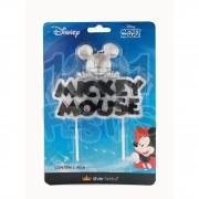 Vela Mickey Metalizada Glitter Prata